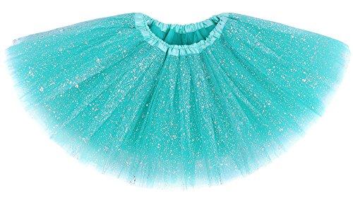 (Jasmine Girls Tutu 4 Layered Tulle Sequin Princess Dress Up Tutu Skirt,Buish)