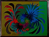 """COCKFIGHT"" Spanish""Encanto""Tapestry,15.5'' X 20.5,Original Mid-Century Modern, c.1965,100% Virgin Wool Felt,Mint Condition."
