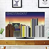 iPrint LCD TV dust Cover Customizable,Detroit Decor,Retro Style Downtown Illustration Metropolis High Rise Buildings Urban Life Decorative,Multicolor,Graph Customization Design Compatible 47'' TV
