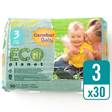 Carrefour bebé Eco planeta tamaño 3 Carry Pack 30 Pañales: Amazon.es ...