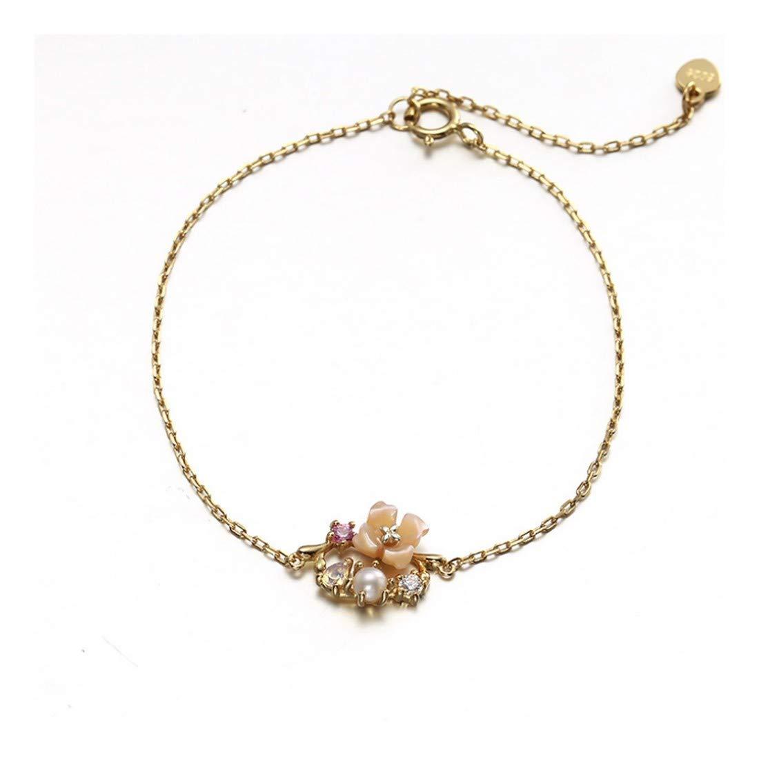 YYYYYAレディースブレスレットS925スターリングシルバーパールピンクの花のモデリングシンプルなジオメトリ調節可能な結婚式のジュエリーレディースジュエリーギフト   B07M5BDMMR