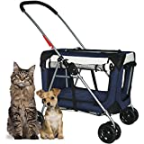 PetLuv ''Happy Pet'' Premium 3-in-1 Soft Sided Pet Carrier, Travel Crate, & Dog Stroller with Wheels Detachable Carrier Locking Zippers Comfy Plush Nap Pillow 4X Interior Room Airy Windows Sunroof Folds