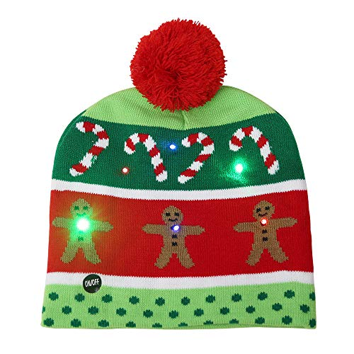 Christmas Hats With Lights (Sandistore LED Light UP Beanie Hat, LED Light Christmas Hat Santa Claus Reindeer Snowman Xmas Gifts Cap, Kids and Teens One Size Light Up Hat)