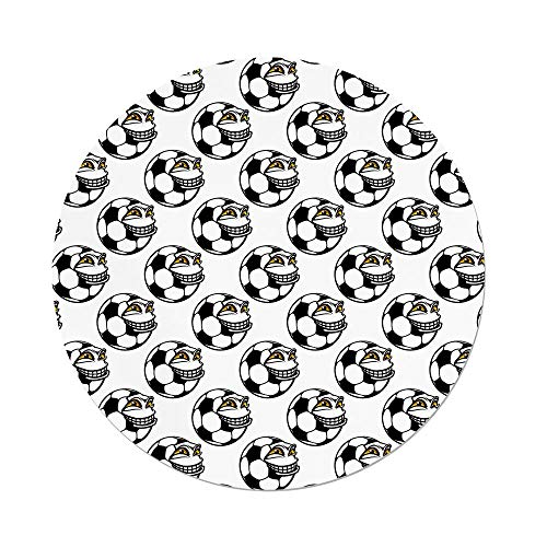 (iPrint Polyester Round Tablecloth,Soccer,Cartoon Football Mascot Happy Funny Face Expression Sports Game Play Decorative,Black White Yellow,Dining Room Kitchen Picnic Table Cloth Cover Outdoor Indo)