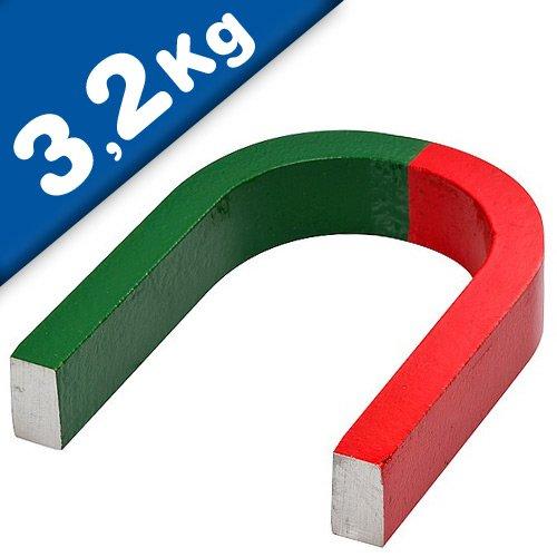 Aimant fer à cheval en AlNiCo - rouge-vert - 80 mm x 60 mm x 15 mm - Force d'adhérence 3,2 kg - les aimants de cette forme classique sont très appréciés pour les expériences à l'école