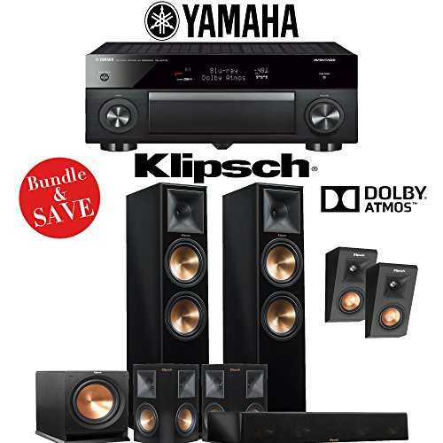 Klipsch RP-280F 5.1.2-Ch Reference Premiere Dolby Atmos Home Theater System (Piano Black) with Yamaha AVENTAGE RX-A1070BL 7.2-Channel Network A/V Receiver