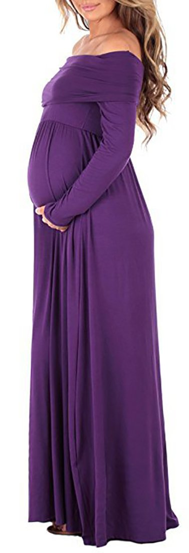 ICEbear Maternity Off The Shoulder Long Sleeve Formal Gown Maxi Photography Dress for Baby Shower