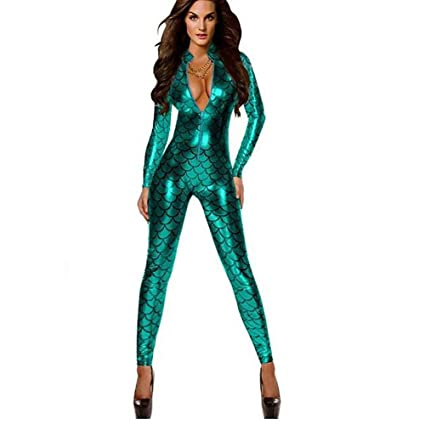b46912c6d45 Image Unavailable. Image not available for. Color  SHANGXIAN Women Jumpsuit  Sexy Latex Catsuit Faux Leather ...