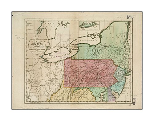 1794 Map Middle Atlantic of middle states of America: comprehends New-York, New-Jersey, Pennsylvania, Delaware, & territory N.W.of Ohio Prime meridian: London.Includes rivers, lakes, - Outlets Atlantic City Map