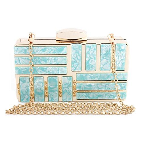 Evening Marble Fashion Girl's Clutch Bag Women's Handbag Blue 1 Evening Clutch Flada Shoulder Patch Purse Acrylic ptx4F5qnw