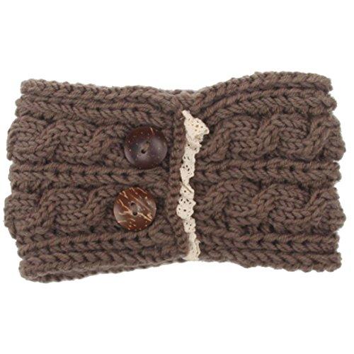 Deamyth Winter Women Knitting Wool Headband Bohemia Button Keep Warm Hairband (Khaki)