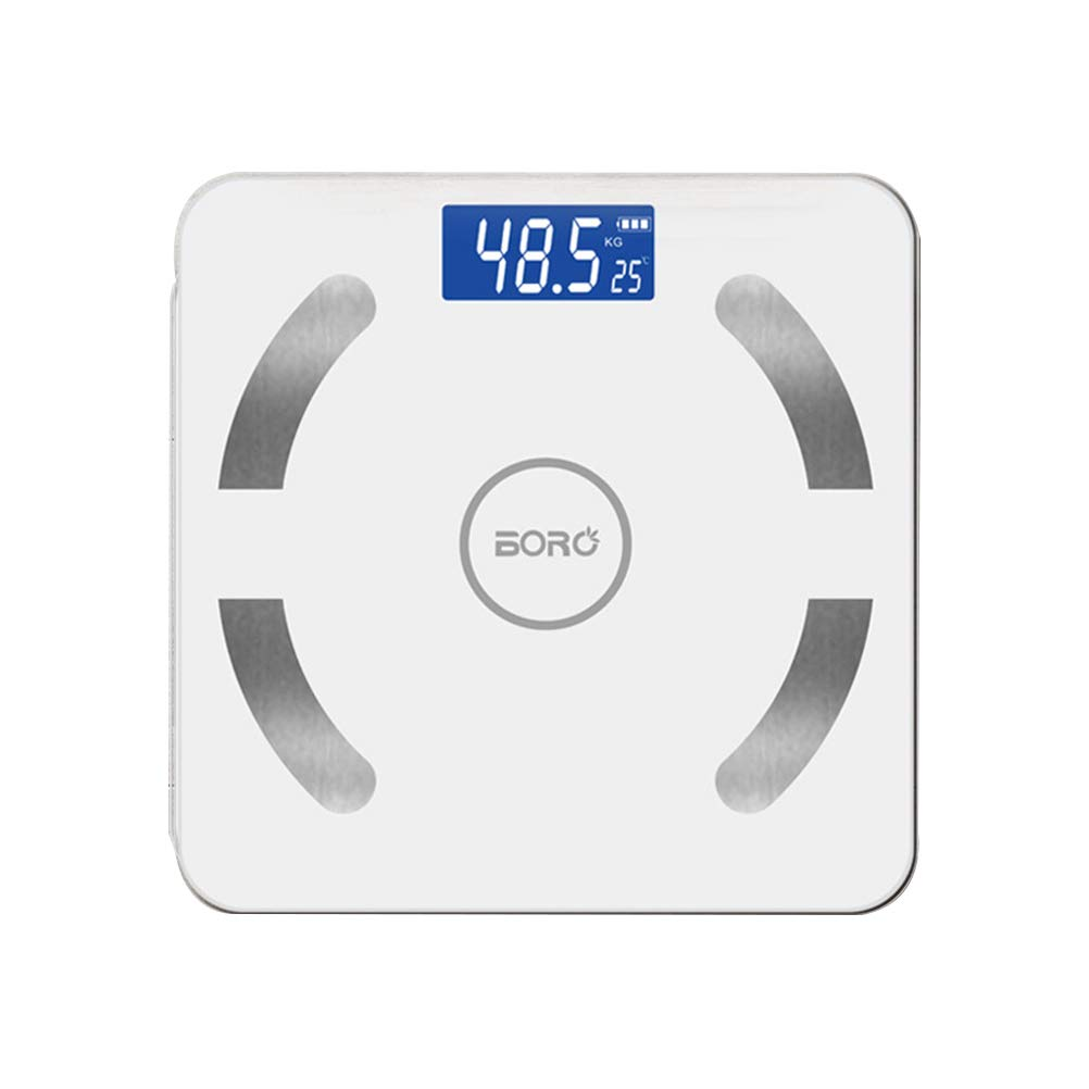 LIOOBO Smart bluetooth body weight scale digital fat scale portable body analyzer scale - no battery included (white)