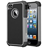 football cases for iphone 4 - iPhone 4 Case, iPhone 4S Case, [Football face] Shockproof Durable Hybrid Dual Layer Armor Defender Full Body Protective Hard Plastic with Soft Silicone Case Cover for Apple iPhone 4 4S (Black Gray)