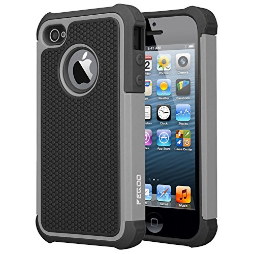 iPhone 4 Case, iPhone 4S Case, [Football face] Shockproof Durable Hybrid Dual Layer Armor Defender Full Body Protective Hard Plastic with Soft Silicone Case Cover for Apple iPhone 4 4S (Black Gray)