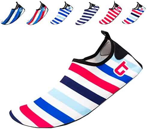 Giotto Barefoot Quick-Dry Women Men Kids Water Sports Shoes Skin Aqua Socks for Swim Beach Pool Surf Yoga, SW, Blue/Red/White, 44-45