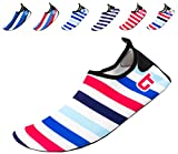 Giotto Barefoot Quick-Dry Women Men Kids Water Sports Shoes Skin Aqua Socks for Swim Beach Pool Surf Yoga, SW, Blue/Red/White, 44-45