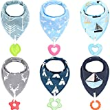Baby Bandana Drool Bibs Teether Toys-Made with 100% Organic Cotton,Personalized Baby Bibs(2018 New Design),Supper Absorbent and Soft(Unisex), 2000+ Instagram Likes(6packs)