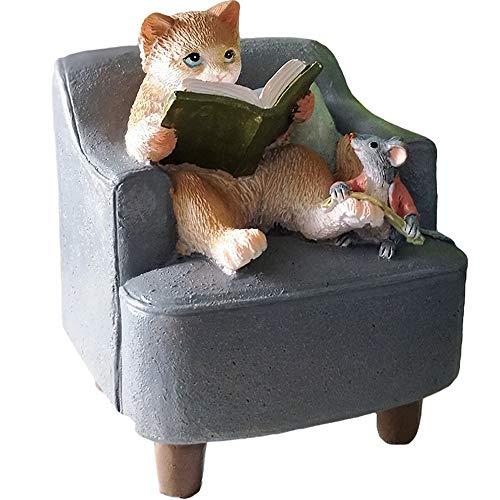 Amusing Mini Cat Reading Statue Figurine Ornament Home Garden Lawn Decor for Bookshelf Flowerpot from starbluegarden