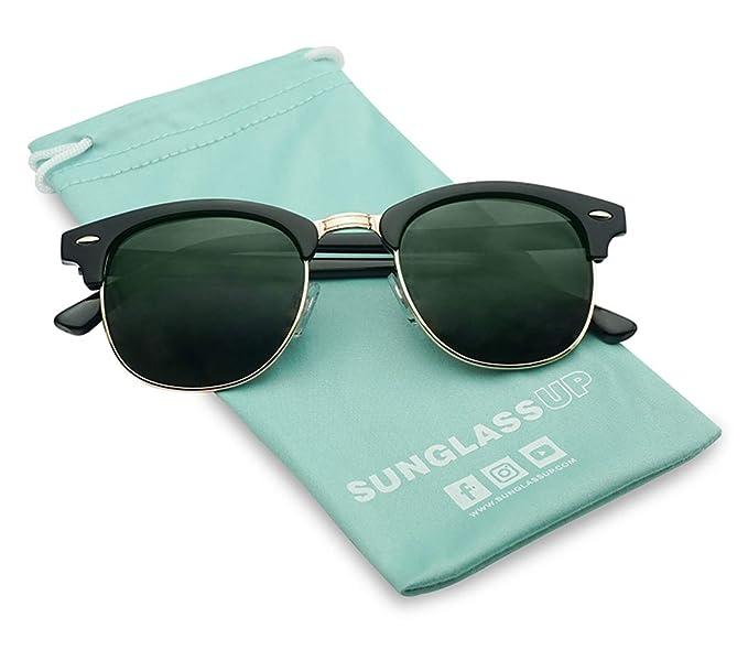 65a414fed9 Clubmaster Semi Rimless Inspired Sunglasses Retro Brand Sun Glasses for  Women Men (Black Gold Frame