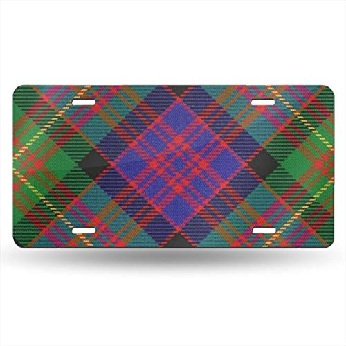 Scots Style Clan Carnegie Tartan Plaid Themed Printed License Plates for Front of Car Tags Accessories Decorations Women Men Girls Ornament Items Merchandise Supplies Gifts