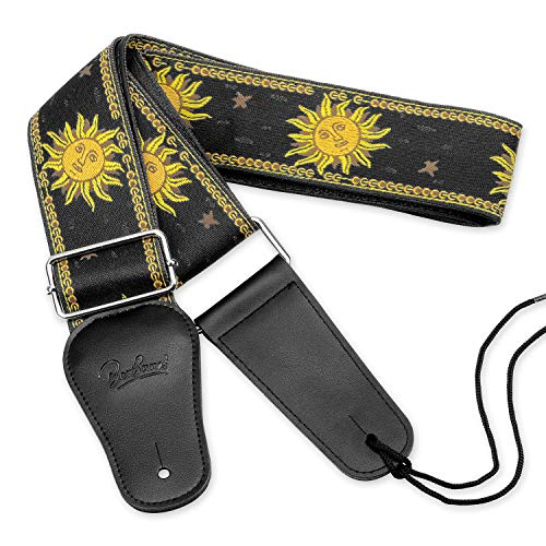 - BestSounds Sun Jacquard Weave Guitar Strap With Genuine Leather Ends Guitar Shoulder Strap For Bass, Acoustic ,Classical & Electric Guitar (Black)