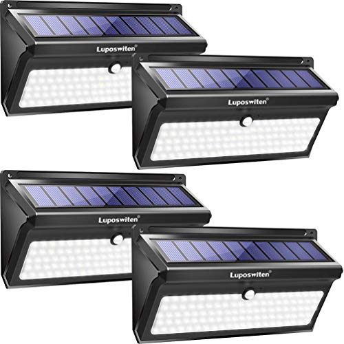 Luposwiten Solar Lights Outdoor, 100 LED Waterproof Solar Powered Motion Sensor Security Light, Solar Fence Wall Lights for Patio, Deck, Yard, Garden (4 Pack) (Renewed) ()