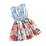 Covermason Baby Girls Toddler Kids Denim Splice Bowknot Floral Print Sleeveless Princess Party Dresses (0-1Y, White)