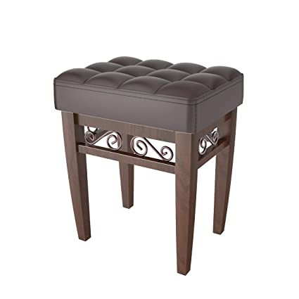 Genial Crownroyaljack Furniture Square Piano Bench Bathroom Vanity Bench Makeup  Stool Chairs, Brown