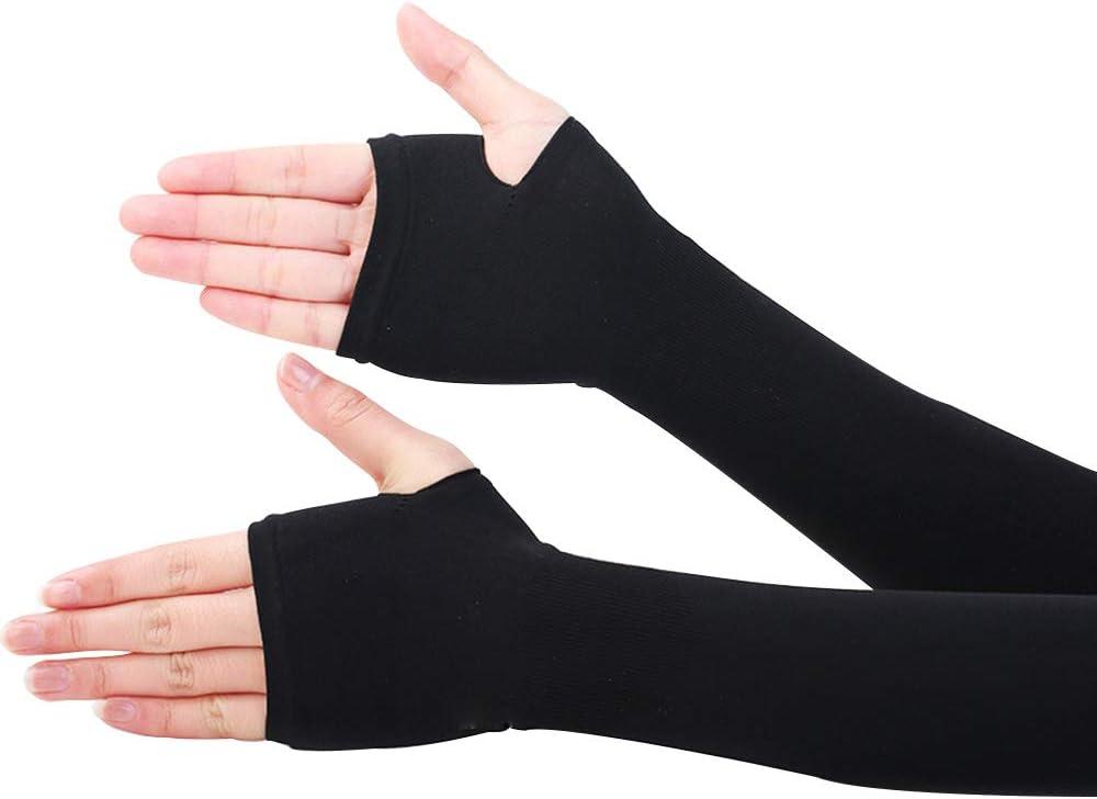 CHRISLZ Long Arms Sleeves Guantes UVProteccion Solar Fundas para la Mano Fingerless Elastic Stretch Brazo Guantes para Actividades al Aire Libre Enfriamiento Covers