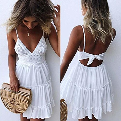 Mini Bust Discount (Besooly Women Sundress Backless Mini Dress V Neck Spaghetti Strap Dress Evening Party Summer Beach Sexy Dress (S, White))
