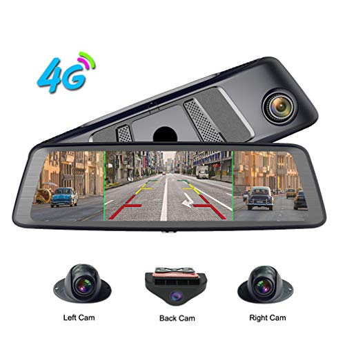 ShiZhen 360°Panoramic 10 inch Full Screen 4G Touch IPS Special Car Dash Cam Rear View Reversing Mirror with GPS Bluetooth WiFi Remote Monitoring Android 5.1 FHD 1080P 4CH Cameras Lens