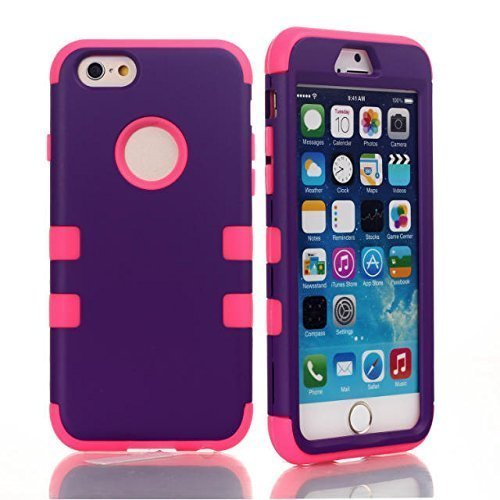 iphone 6 Pure Purple and Rose design 3 in1 hard hybrid case cover for iPhone 6 4.7 inch Case cover