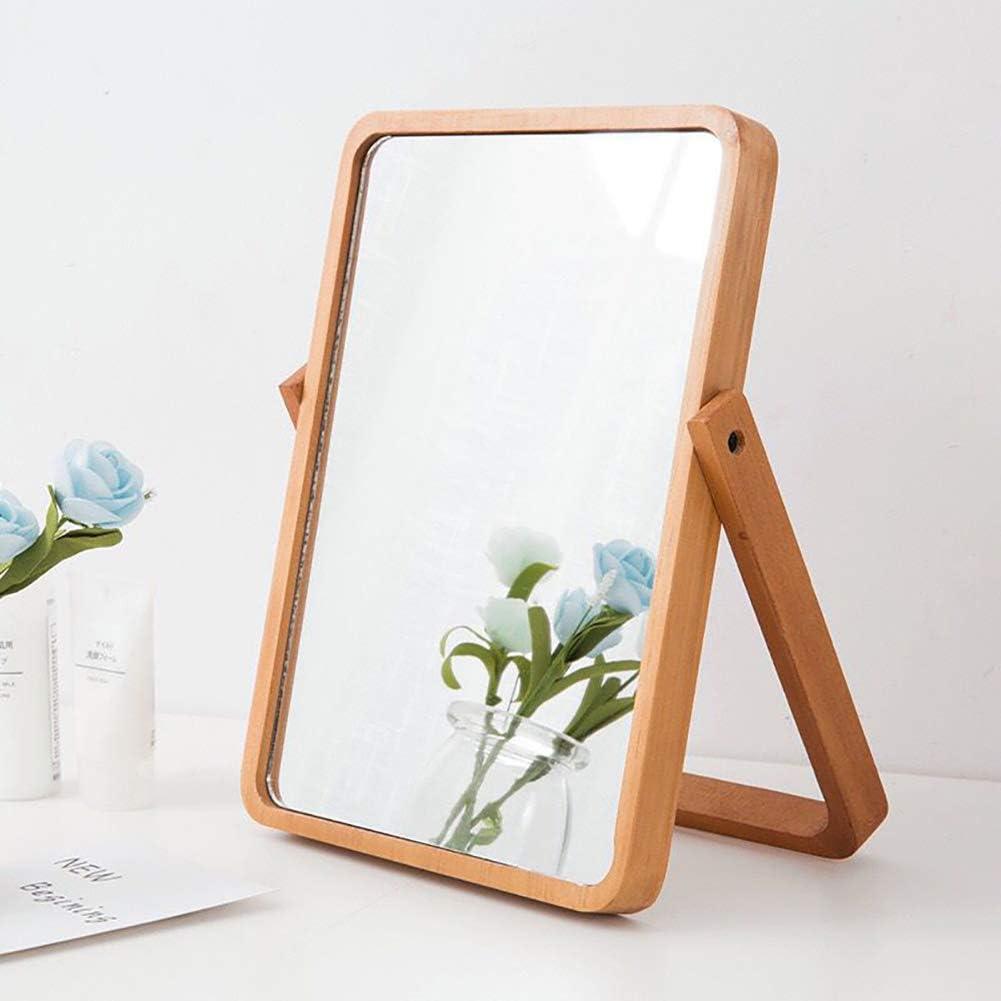 Wood Table Vanity Makeup Mirror