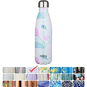 MIRA Vacuum Insulated Travel Water Bottle | Leak-proof Double Walled Stainless Steel Cola Shape Portable Water Bottle | No Sweating, Keeps Your Drink Hot & Cold | 17 Oz (500 ml) (Lotus)