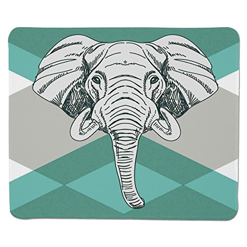 Mouse Pad Unique Custom Printed Mousepad [ Elephant,Contemporary Image of Elephant Head with Minimalist Print Boho Style Modern Home Decor,Teal Grey ] Stitched Edge Non Slip Rubber