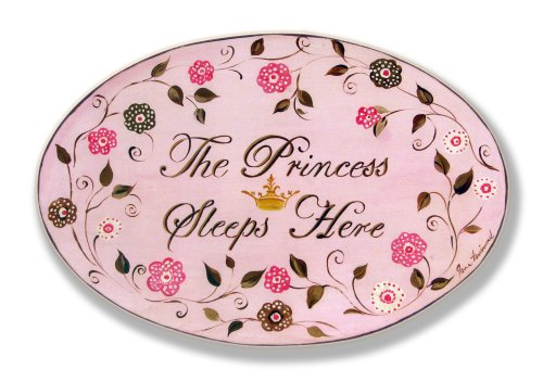 The Kids Room by Stupell The Princess Sleeps Here Brown And Pink Oval Wall Plaque, 10 x 0.5 x 15, Proudly Made in USA (Wall Canvas Princess Hanging)