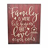 Cheap MRC Wood Products Family is Where Life Begins and Love Never Ends Rustic Wall Sign 12×15