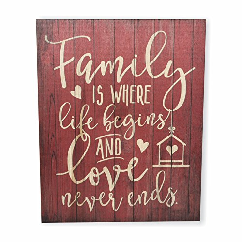 Family Sign - MRC Wood Products Family Is Where Life Begins And Love Never Ends Rustic Wall Sign 12x15