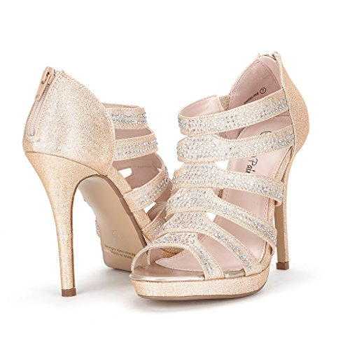 DREAM PAIR ANGELINE Women's Evening Glitter Peep-Toe Rhinestones Stiletto Heel Pumps Shoes Sandals