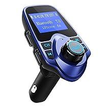 FM-Transmitter, OMorc Bluetooth KFZ Wireless Radio Adapter, FM Transmitter Empfänger mit Mikrofon, 2 Auto USB Ladegerät (5V/2,1A Ausgang), 3,5mmAUX-Eingang mit 1,44-Zoll-Display,TF Karte Slot für Handy iPhone 7/7 Plus/SE/6S/6Plus, Samsung Galaxy S7/S6/Note 5 und andere ios / Android Smartphones usw. (Schwarz)