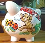 Sock Monkey Design Handpainted Personalized Piggy Bank