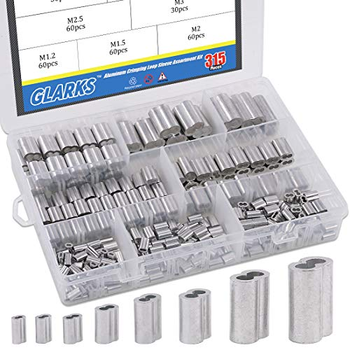 (Glarks 315-Pieces 8 Sizes Aluminum Crimping Loop Sleeve Double Barrel Ferrule for Wire Rope and Cable Line End Assortment Kit - M1.2-M6)