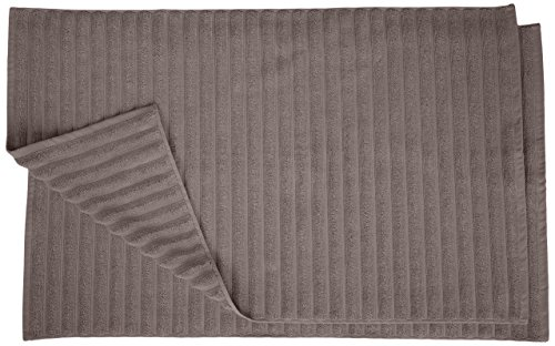 Superior Striped Bath Mat 2-Pack, 100% Combed Cotton, Luxury Spa Ribbed Texture, Durable and Washable Bathroom Mats - Graphite, 22