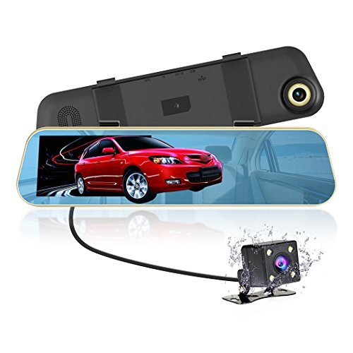VICTONY Dual Lens Car Camera, 1080P Full HD Dash Cam Car Recorder DVR with 4.3 Inch Screen, 170-degree Wide Angle Lens with Waterproof Rear Camera (8GB SD Card Included)
