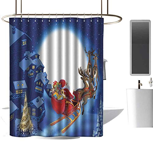 homehot Shower Curtains for Bathroom map Santa,Reindeer Carriage Flying Over Town Houses in Midnight Sky with Full Moon,Navy Blue Multicolor,W48 x L84,Shower Curtain for -