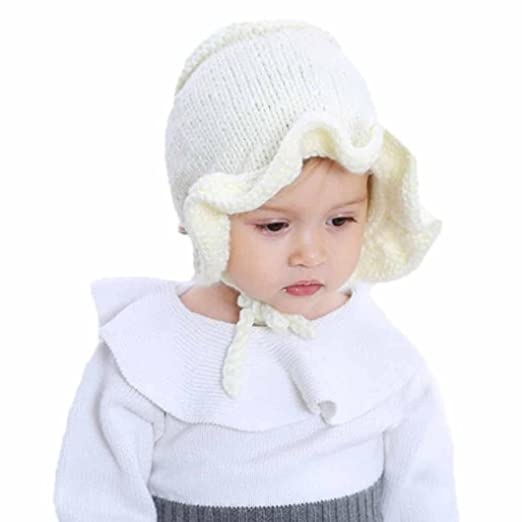 dcc1867cbad Amazon.com  Vovotrade Adorable Cute Baby Hats Children Ball Cap Letter Warm Winter  Hats Knitted Wool Hemming (Beige-E)  Clothing