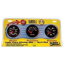 """Auto Meter 7500 Phantom II 2-1/16"""" Oil/Water/Voltmeter Mechanical Three-Gauge Interact Pack"""