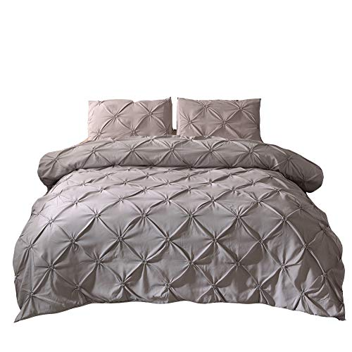 MOVE OVER 3 Pieces Grey Bedding Light Grey Pintuck Duvet Cover Set Pinch Pleated Pattern Design Grey Ruffle Bedding Sets King (104