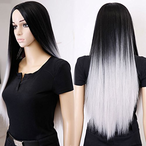 AOSI WIG Grey Ombre Long Wig Long Straight Hair Two Tone Black And Grey Ombre Wig With Free Wig Comb And Wig Cap