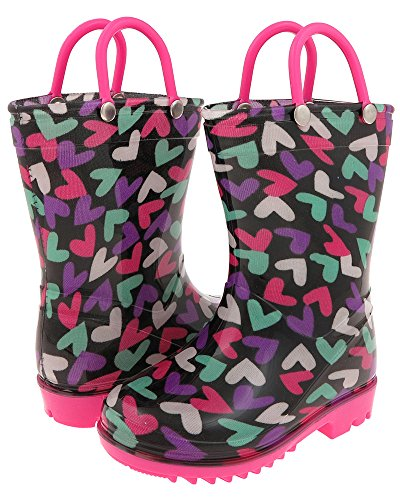 Capelli New York Jumbled Cute Hearts Print with Handles Toddler Girls Rain Boot Multi Brites 4/5 Capelli Heart
